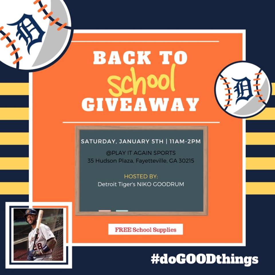 MLB's Goodrum hosting F'ville school supply event Jan. 5