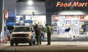 Suspects sought in gas station shooting